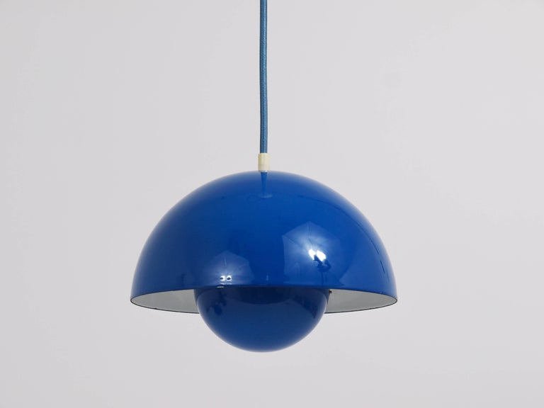 Enameled Blue-Green Verner Panton Flowerpot Pendant Lamp, Louis Poulsen, Denmark, 1969