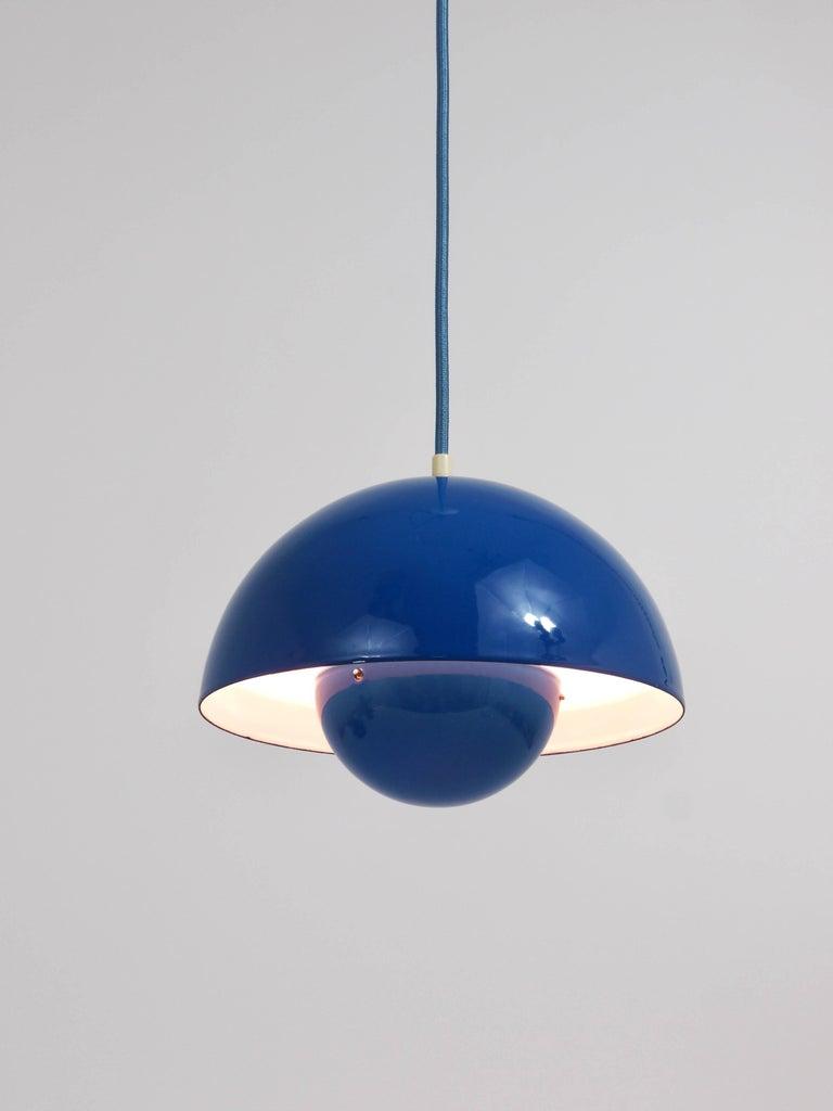 20th Century Blue-Green Verner Panton Flowerpot Pendant Lamp, Louis Poulsen, Denmark, 1969