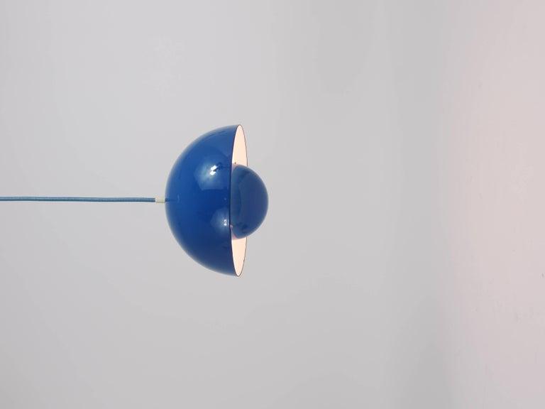 Metal Blue-Green Verner Panton Flowerpot Pendant Lamp, Louis Poulsen, Denmark, 1969