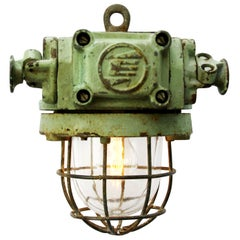 Blue Green Vintage Industrial Clear Glass Factory Pendant Light