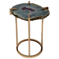 Blue Grey Agate and Purple Amethyst Rose Gold Table by Studio Maison Nurita