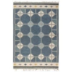 "Blue, Grey, and Ivory ""Snowflake"" Midcentury Swedish Rug by?Ingegerd Silow"