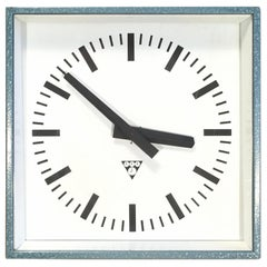 Blue-Grey Industrial Square Wall Clock from Pragotron, 1970s