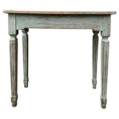 Blue Gustavian 18th Century Carved and Painted Console Table