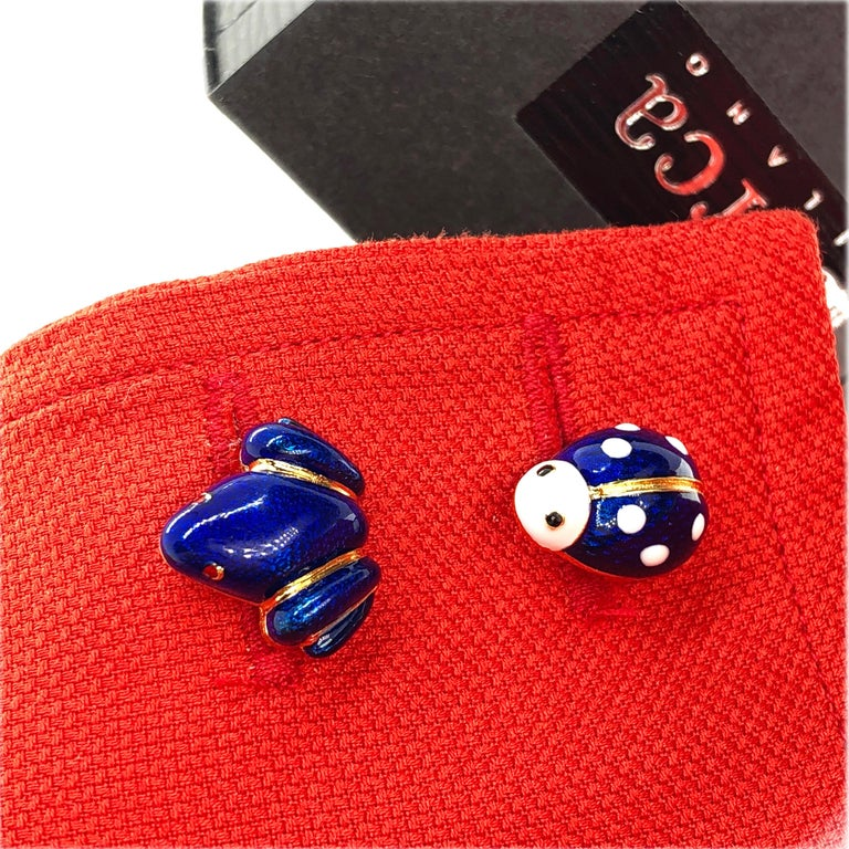 Navy Blue Hand Enameled Frog Shaped Sterling Silver Gold-Plated Cufflinks For Sale 9
