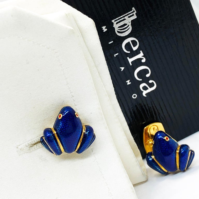 Unique and Chic Navy Blue Hand Enamelled Little Frog Shaped T-Bar Back, Sterling Silver Yellow Gold Plated Cufflinks. In our smart black box and Pouch.