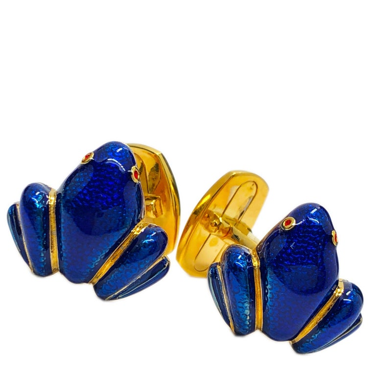 Men's Navy Blue Hand Enameled Frog Shaped Sterling Silver Gold-Plated Cufflinks For Sale
