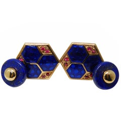Blue Hand Enameled Natural Round Ruby Lapis Back Rose Gold Setting Cufflinks