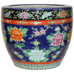 Blue Hand-painted Asian Jardinière with Flowers