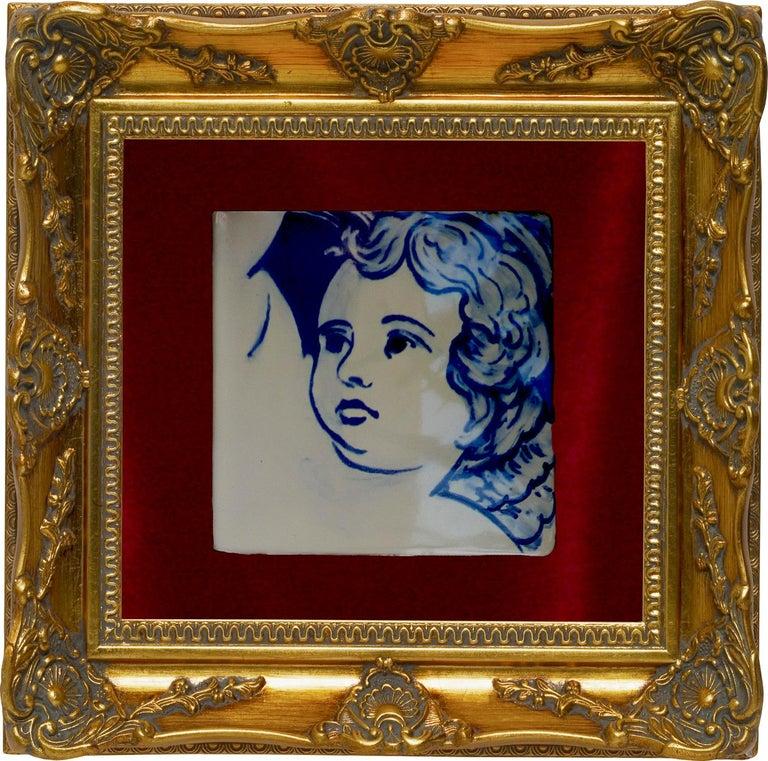 Blue Hand Painted Baroque Cherub Or Angel Portuguese