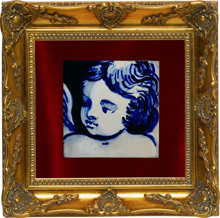 Glazed Blue Hand Painted Baroque Cherub or Angel Portuguese Ceramic Tile or Azulejo For Sale