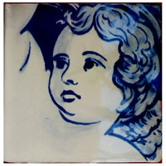 Blue Hand Painted Baroque Cherub or Angel Portuguese Ceramic Tile or Azulejo