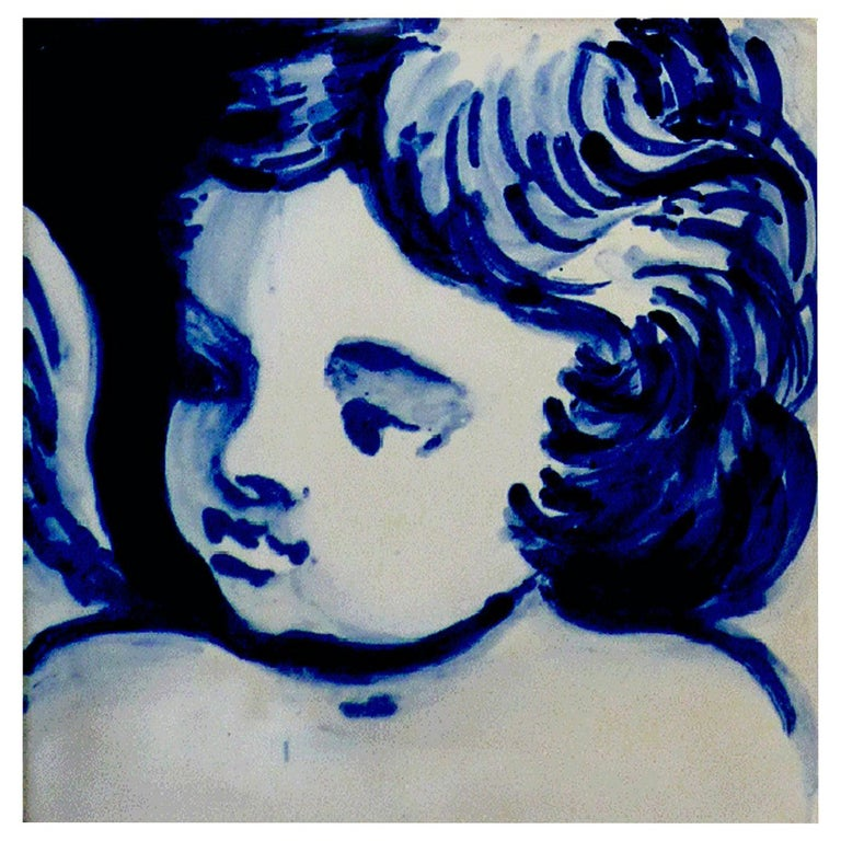Blue Hand Painted Baroque Cherub or Angel Portuguese Ceramic Tile or Azulejo For Sale