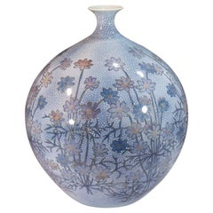 Blue Hand Painted Porcelain Vase by Japanese Contemporary Master Artist