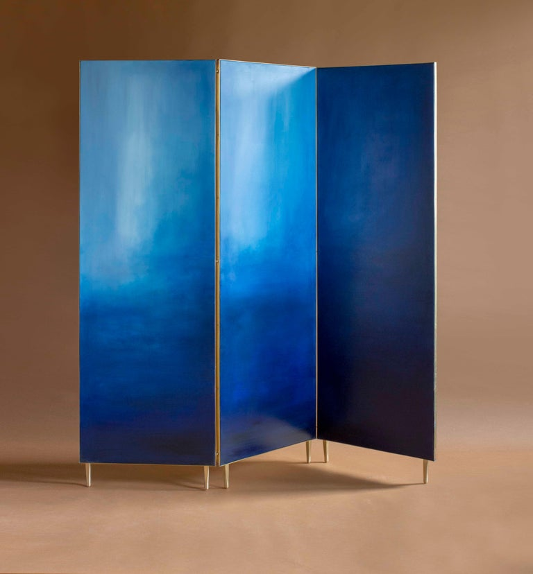 Post-Modern Blue Hand Painted Screen, Jan Garncarek For Sale