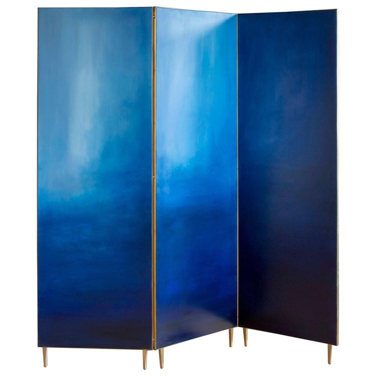 Blue Hand Painted Screen, Jan Garncarek For Sale