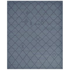 Blue Handwoven Wool Moroccan Inspired Flatweave Rug