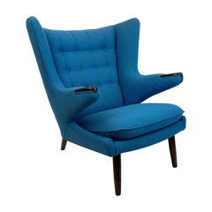 Blue Hans Wegner Mod. AP19 Papa Bear Lounge Chair for AP Stolen