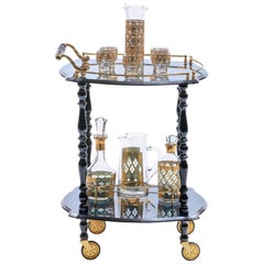 Blue Hollywood Regency Bar Cart with Floral Inlay & Brass Details Made in Italy