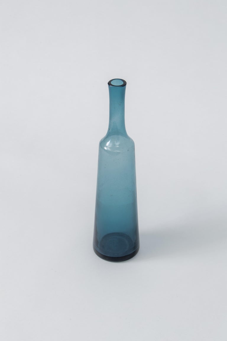 Blue Holmegaard Bottle Vessel, Denmark, 1960's In Good Condition For Sale In New York, NY