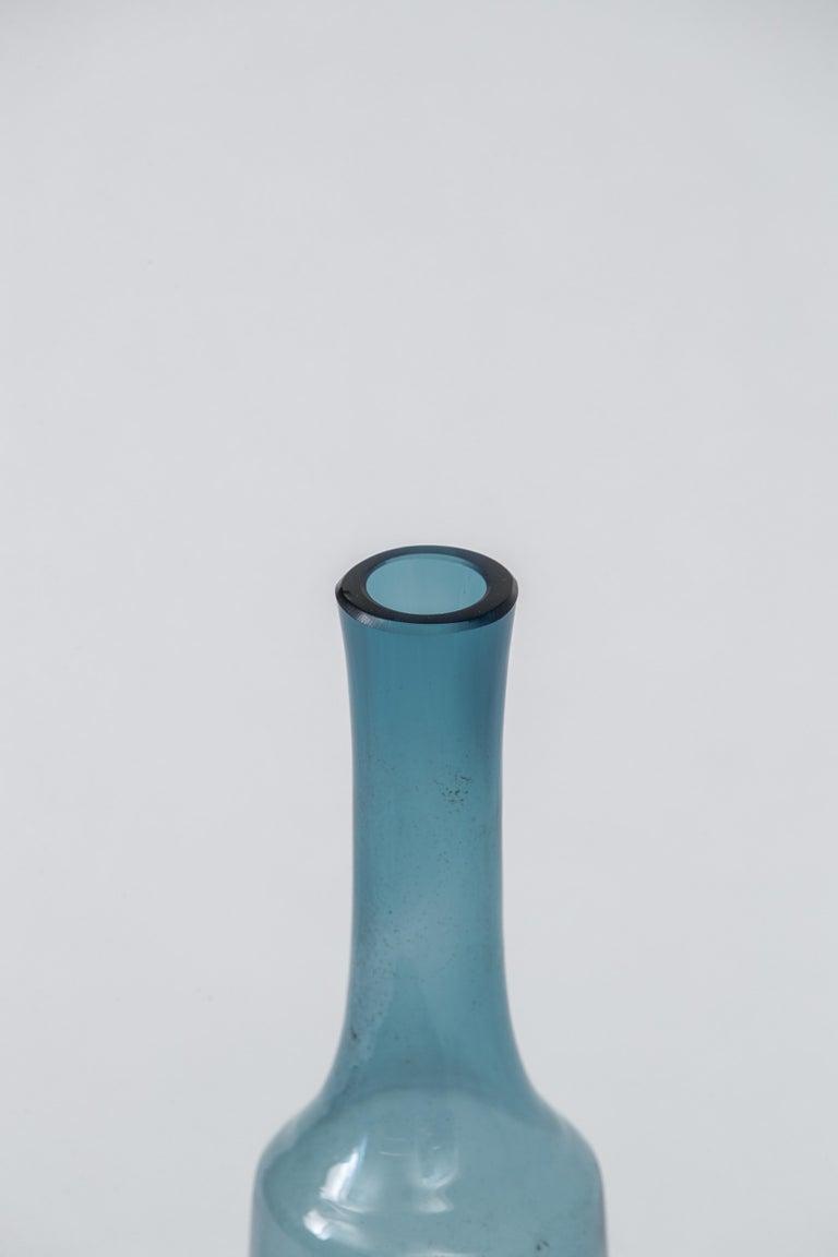 Mid-20th Century Blue Holmegaard Bottle Vessel, Denmark, 1960's For Sale