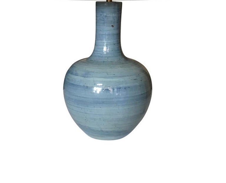 Chinese Blue Horizontal Pattern Pair of Large Lamps, China, Contemporary