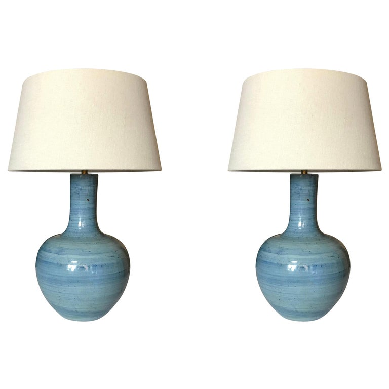 Blue Horizontal Pattern Pair of Large Lamps, China, Contemporary