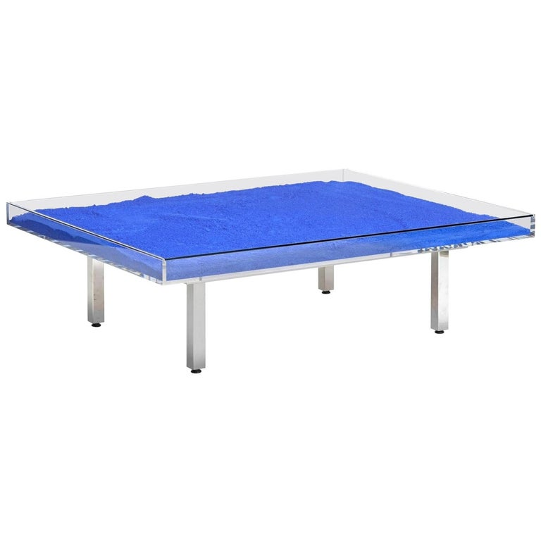 """In Stock in Los Angeles, Yves Klein Blue """"IKB"""" Glass Table, Made in France For Sale"""