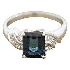 Blue Indicolite Tourmaline Diamond Platinum Ring