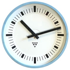 Blue Industrial Bakelite Wall Clock from Pragotron, 1970s