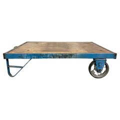 Blue Industrial Coffee Table Cart, 1960s