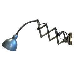 Blue Industrial Scissor Wall Lamp, 1960s