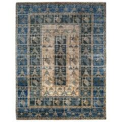 Blue, Ivory and Beige Handmade Wool Distressed Anatolian Turkish Oushak Rug