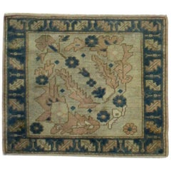 Blue, Ivory and Navy Handmade Wool Turkish Old Anatolian Konya Distressed Rug