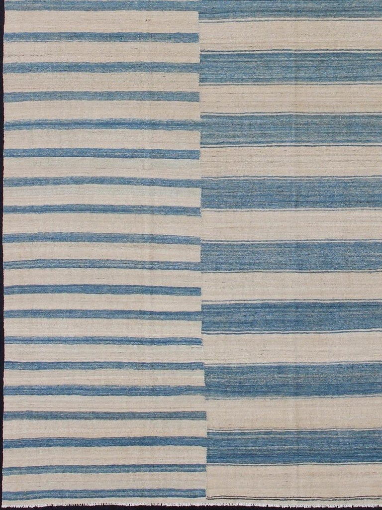 Modern flat-weave Kilim rug with stripes in shades of blue, gray, ivory, rug afg-6337, country of origin / type: Afghanistan / Kilim  This flat-woven kilim rug features a classic stripe design that places seamlessly in any modern interior. It's