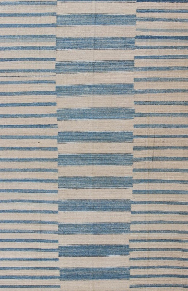 Afghan Blue, Ivory Casual Modern Flat-Weave Kilim Rug with Modern Design and Stripes For Sale