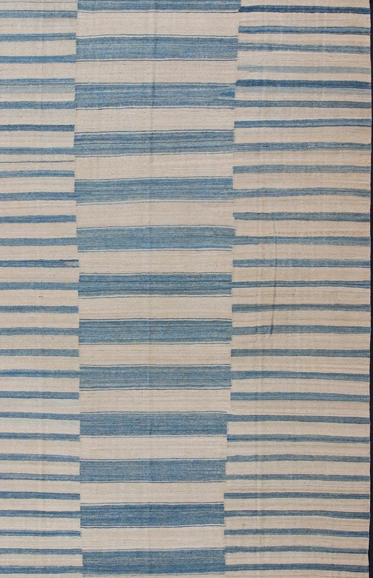 Hand-Woven Blue, Ivory Casual Modern Flat-Weave Kilim Rug with Modern Design and Stripes For Sale
