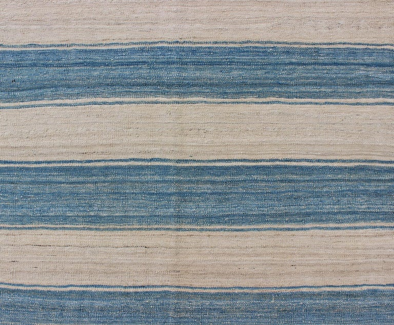 Contemporary Blue, Ivory Casual Modern Flat-Weave Kilim Rug with Modern Design and Stripes For Sale