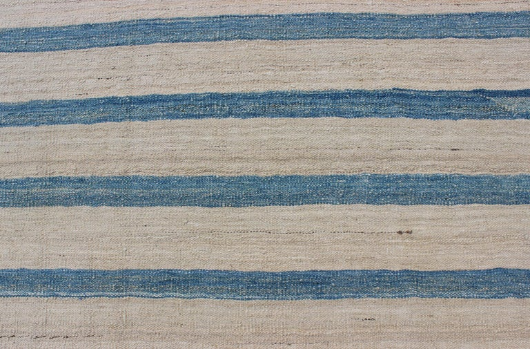 Wool Blue, Ivory Casual Modern Flat-Weave Kilim Rug with Modern Design and Stripes For Sale