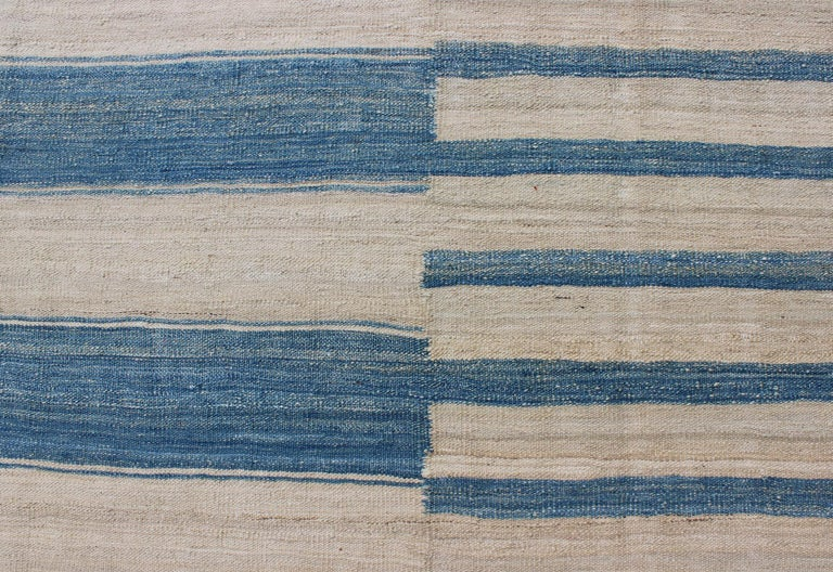 Blue, Ivory Casual Modern Flat-Weave Kilim Rug with Modern Design and Stripes For Sale 1