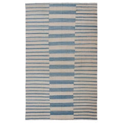 Blue, Ivory Casual Modern Flat-Weave Kilim Rug with Modern Design and Stripes