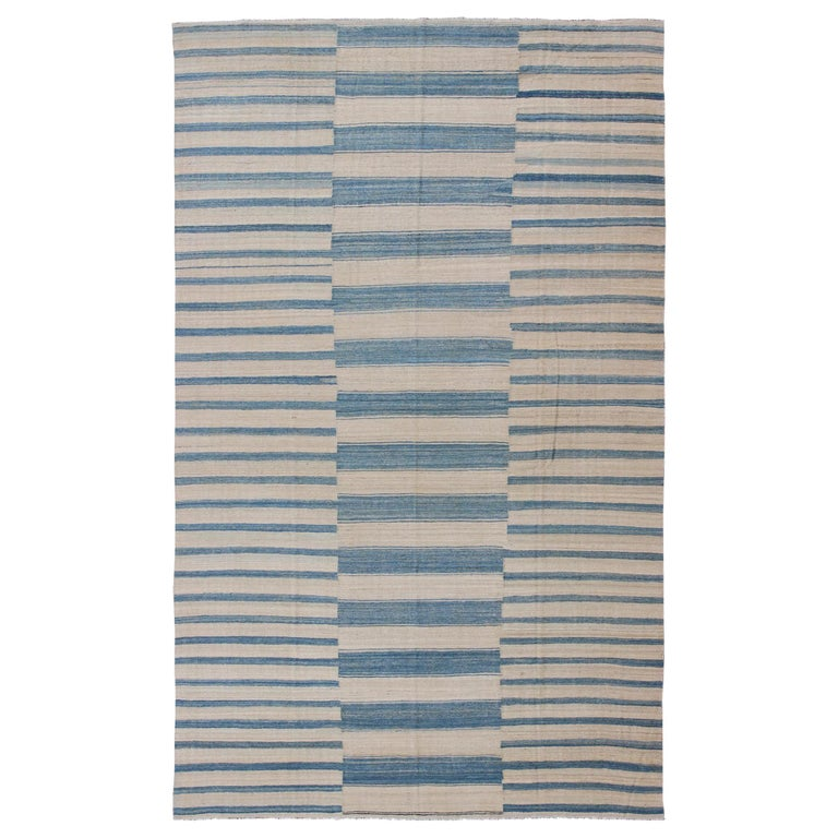 Blue, Ivory Casual Modern Flat-Weave Kilim Rug with Modern Design and Stripes For Sale