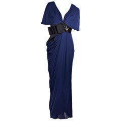 J. Mendel Blue Silk Embellished Maxi Dress