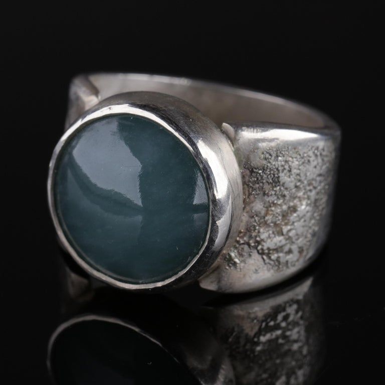 Blue Jade Ring in Silver Certified Natural and Untreated For Sale 5