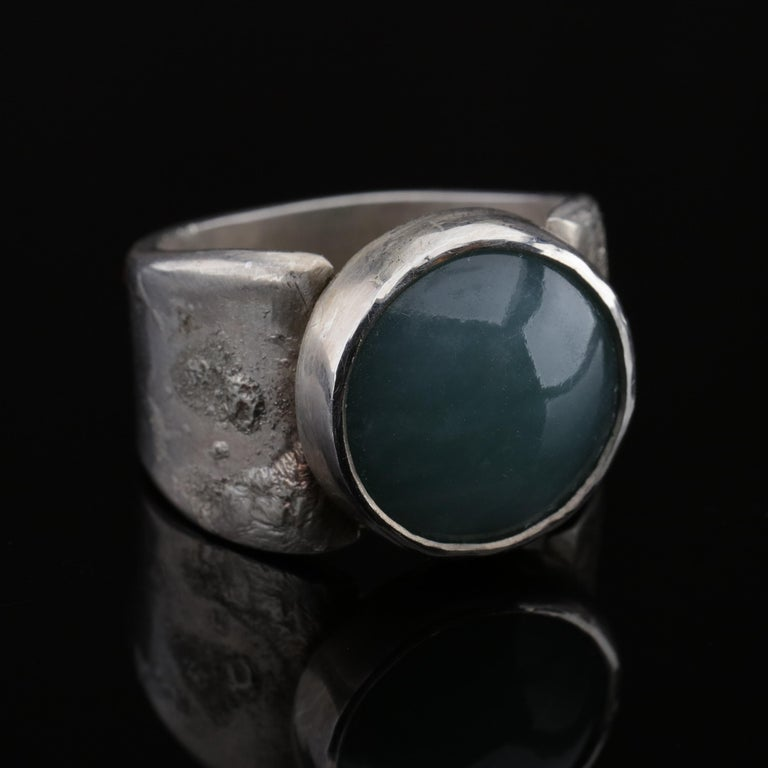 Blue Jade Ring in Silver Certified Natural and Untreated For Sale 6