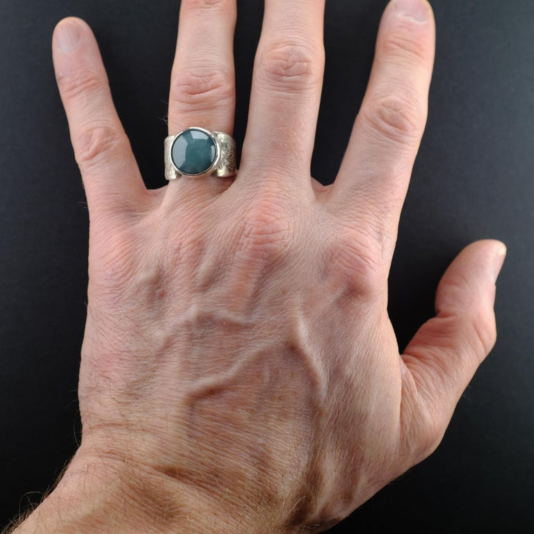 Blue Jade Ring in Silver Certified Natural and Untreated For Sale 7