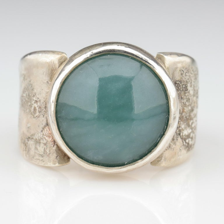 Artisan Blue Jade Ring in Silver Certified Natural and Untreated For Sale