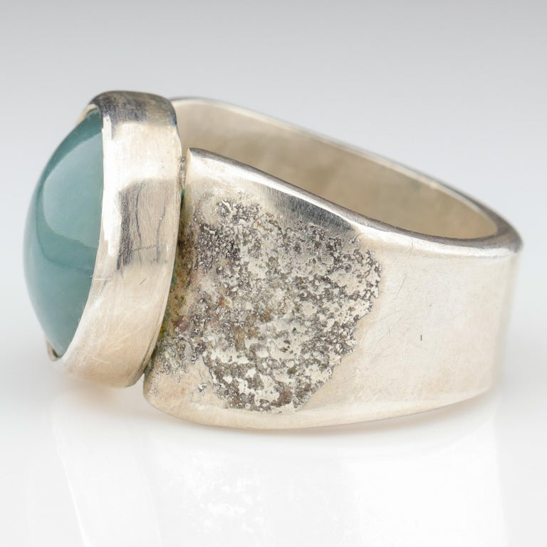 Women's or Men's Blue Jade Ring in Silver Certified Natural and Untreated For Sale
