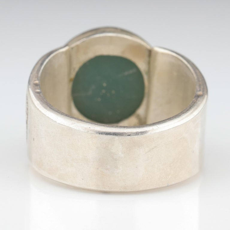 Blue Jade Ring in Silver Certified Natural and Untreated For Sale 1