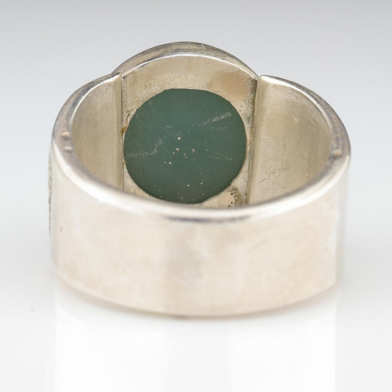 Blue Jade Ring in Silver Certified Natural and Untreated For Sale 2